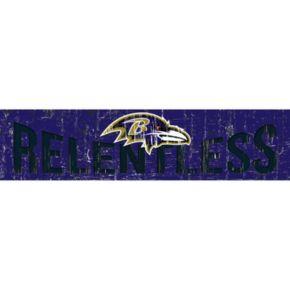 """Baltimore Ravens 6"""" x 24"""" Slogan Wood Sign"""