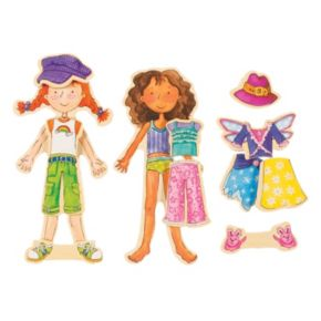 T.S. Shure Daisy Girls Wooden Magnetic Dress-Up Doll Set