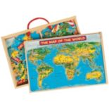 T.S. Shure PuzBox 2-pk. US & World Map Wooden Puzzle Set