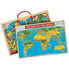 T.S. Shure PuzBox 2-pk. US & World Map Wooden Puzzle Set by
