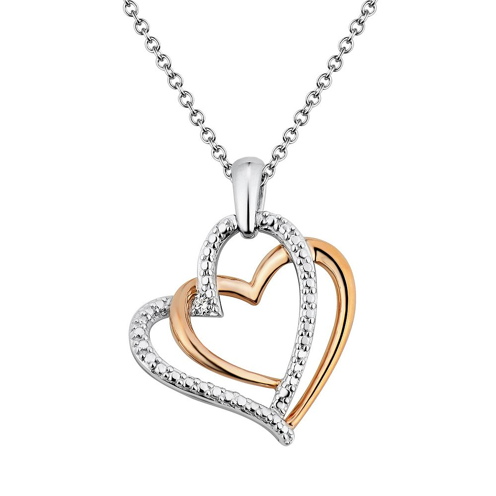 Two hearts forever one diamond accent 10k rose gold over silver two hearts forever one diamond accent 10k rose gold over silver sterling silver heart pendant necklace mozeypictures Images