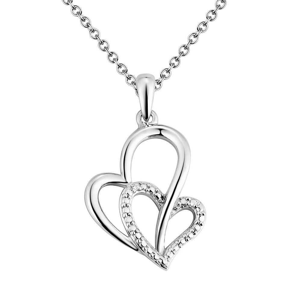 Two hearts forever one diamond accent sterling silver heart pendant two hearts forever one diamond accent sterling silver heart pendant necklace aloadofball Images