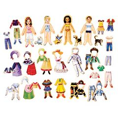 T.S. Shure Heritage Hearts Wooden Magnetic Dress-Up Doll Set by