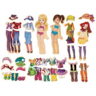 T.S. Shure Fashion-A-Belles Wooden Magnetic Dress-Up Doll Set