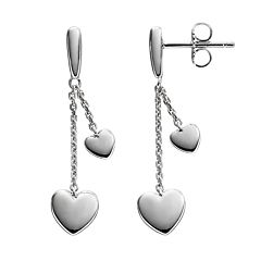 She Sterling Silver Heart Linear Drop Earrings