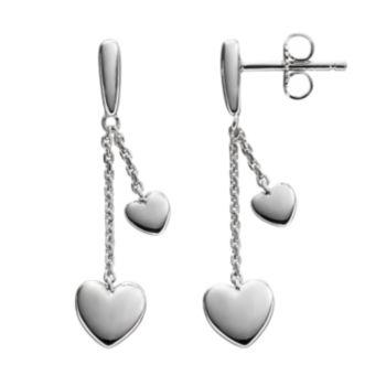 She Sterling Silver Heart Linear Drop Earrings