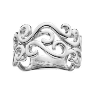 She Sterling Silver Openwork Scroll Ring