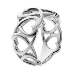 She Sterling Silver Openwork Heart Ring