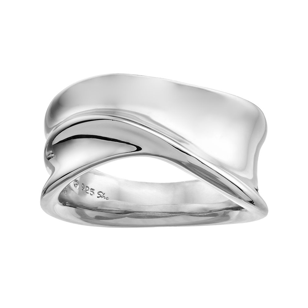 Clear Cubic Zirconia Intertwined Wave Ring Rhodium Plated Sterling Silver