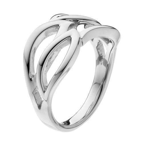 She Sterling Silver Openwork Leaf Ring