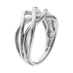 She Sterling Silver Openwork Woven Ring