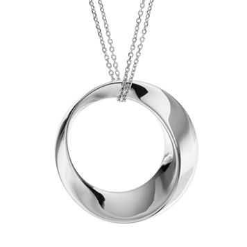 She Sterling Silver Circle Pendant Necklace
