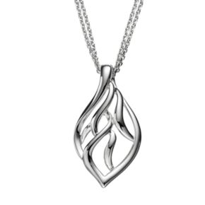 She Sterling Silver Openwork Leaf Pendant Necklace
