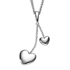 She Sterling Silver Heart Drop Pendant Necklace