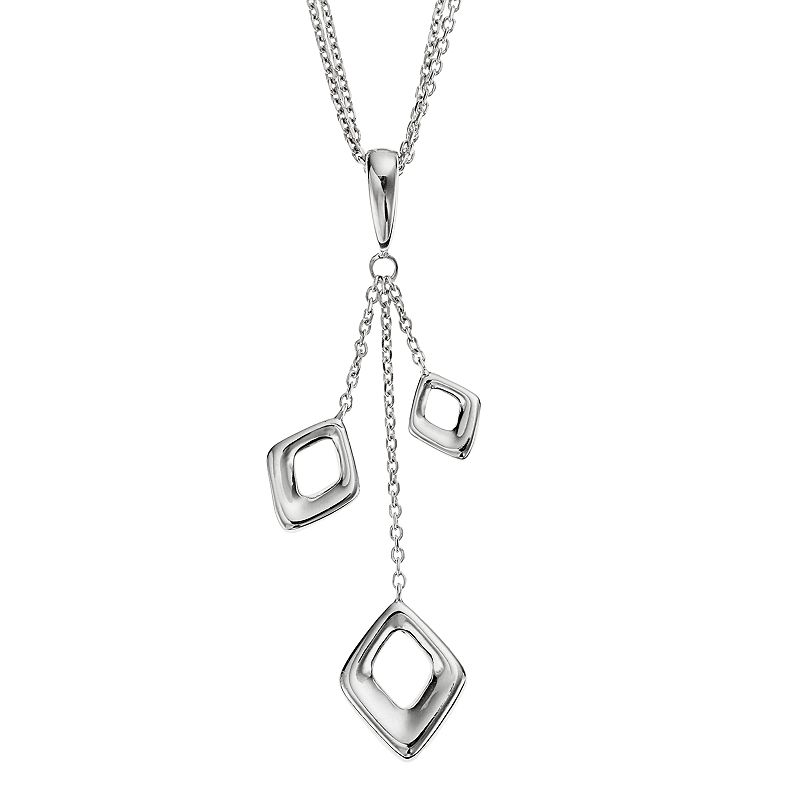 She Sterling Silver Kite Drop Pendant Necklace