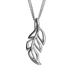 She Sterling Silver Openwork Leaf Pendant Necklace