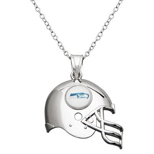 Seattle Seahawks Sterling Silver Helmet Pendant Necklace