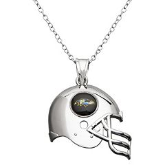 Baltimore Ravens Sterling Silver Helmet Pendant Necklace