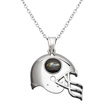 Baltimore Ravens Sterling Silver Helmet Pendant Necklace