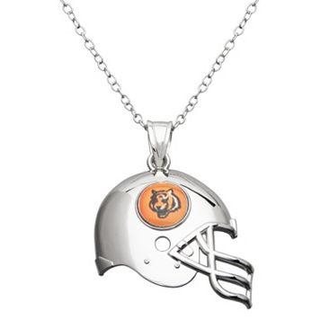 Cincinnati Bengals Sterling Silver Helmet Pendant Necklace