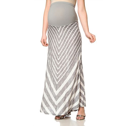 4d2a7fe9b Maternity Oh Baby by Motherhood™ Secret Fit Belly™ Mitered Stripe Maxi Skirt