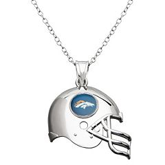 Denver Broncos Sterling Silver Helmet Pendant Necklace