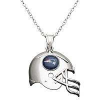 New England Patriots Sterling Silver Helmet Pendant Necklace