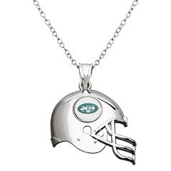 New York Jets Sterling Silver Helmet Pendant Necklace
