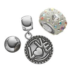 Individuality Beads Crystal Sterling Silver Bead &  'Love' Disc Charm Set