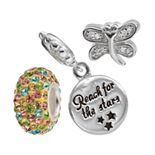 """Individuality Beads Cubic Zirconia & Crystal Sterling Silver Dragonfly Bead & """"Reach For Stars"""" Disc Charm Set"""