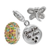 "Individuality Beads Cubic Zirconia & Crystal Sterling Silver Dragonfly Bead & ""Reach For Stars"" Disc Charm Set"