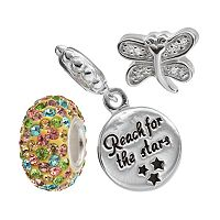 Individuality Beads Cubic Zirconia & Crystal Sterling Silver Dragonfly Bead &