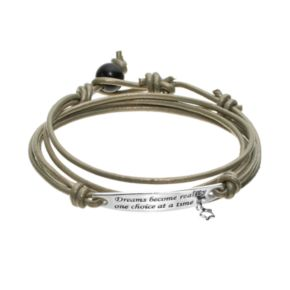 """All Wrapped Up Sterling Silver & Leather """"Dream"""" Wrap Bracelet"""