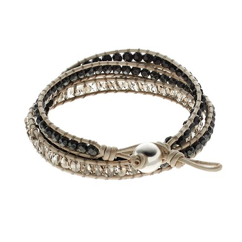 All Wred Up Hemae Crystal Bead Sterling Silver Leather Wrap Bracelet