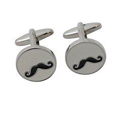 Rhodium-Plated Mustache Cuff Links