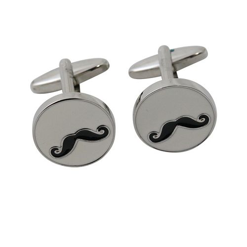 Rhodium-Plated Mustache Cuff Links