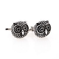 Rhodium-Plated Owl Cuff Links