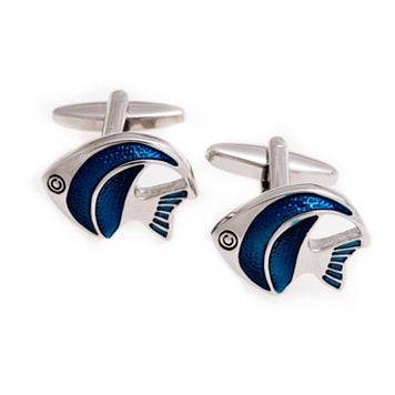 Rhodium-Plated Enameled Fish Cuff Links