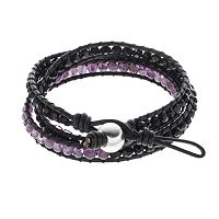 All Wrapped Up Amethyst & Crystal Bead Sterling Silver Leather Wrap Bracelet