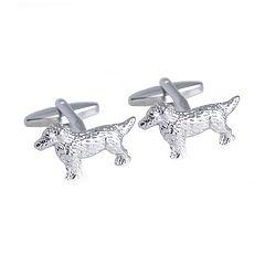 Rhodium-Plated Dog Cuff Links