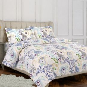 Tribeca Living Flannel Paisley Garden 3-pc. Duvet Cover Set