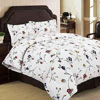 Tribeca Living Flannel Floral Garden 3-pc. Duvet Cover Set