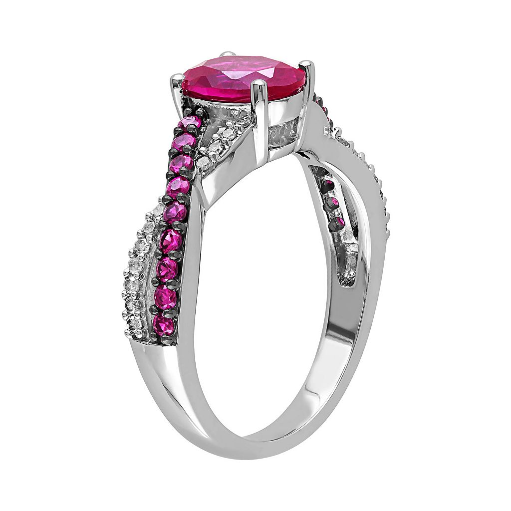 Lab-Created Ruby and 1/10 Carat T.W. Diamond 10k White Gold Crisscross Ring