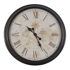 Decor Therapy Antique Map Wall Clock