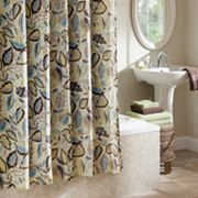 Excell Jacobean Leaf Fabric Shower Curtain