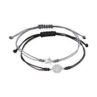All Wrapped Up Crystal Sterling Silver Star & Disc Link Slipknot Bracelet Set