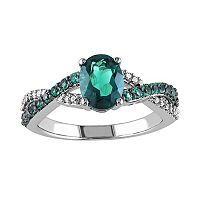 Lab-Created Emerald & 1/10 Carat T.W. Diamond 10k White Gold Crisscross Ring