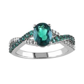 Stella Grace Lab-Created Emerald and 1/10 Carat T.W. Diamond 10k White Gold Crisscross Ring