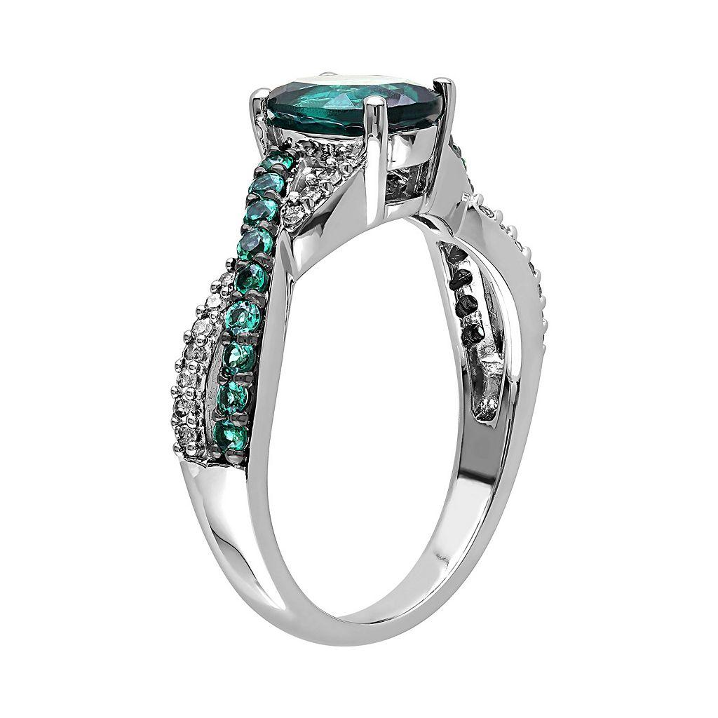 Lab-Created Emerald and 1/10 Carat T.W. Diamond 10k White Gold Crisscross Ring
