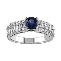 Blue Sapphire & 5/8 Carat T.W. Diamond 10k White Gold Ring
